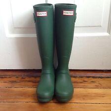 NIB Hunter Original Tall Knee High Matte Green Rubber Boots Size 6