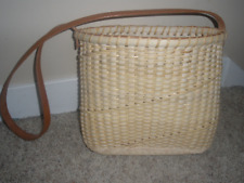 New Handwoven Basket Cane Purse With Leather Handle and Rim Holiday Gift