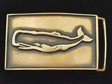 Sperm Whale Artist Handmade Signed J Zerah Solid Brass Vintage Belt Buckle