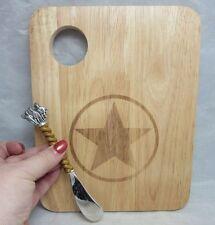 Wood cheese cutting board. Texas star. Horses handle spreader. NEW
