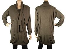 Luxury designer knitwear on sales -ConMiGo brown artistic fine jumper with scarf