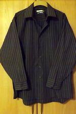 Men's smart long sleeved Grey striped shirt GEOFFREY BEENE Collar171/2 XL Unworn