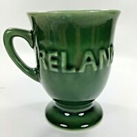 Ireland Vintage Mug Cup Coffee Tea Ceramic Green w Handle Chalice