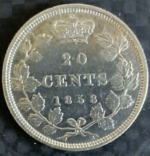 1858 CANADA 20 CENTS  SILVER - RARE - First and only issue year