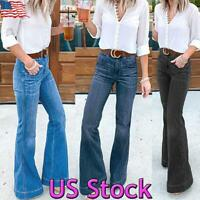 Womens Denim Flared High Waist Wide Leg Pants Stretch Bell Bottom Jeans Trousers