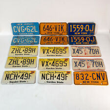 Awesome Lot of 15 New York / New Jersey License Plates 1960s-2000s 7 Pairs Nice!