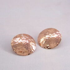 26mm Hammered Disc Copper Earrings 925 Sterling Silver Stud Chunky Jewelry