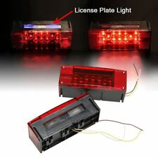 Left/Right LED Submersible Red Trailer Boat Rectangle Stud Stop Turn Tail Lights