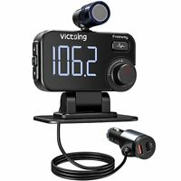 VicTsing Bluetooth 5.0 FM Transmitter Car Kit QC3.0 AUX Adapter Hands-Free Mic