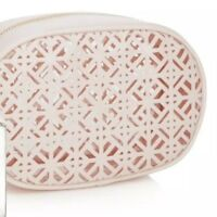 NEW TORY BURCH Cosmetic Case Patent Light Pink Lace Makeup Pouch Toiletry Bag