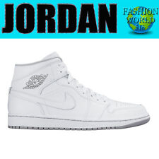 Men'S Size 12 Nike Air Jordan 1 Mid White White Wolf Grey 554724 112
