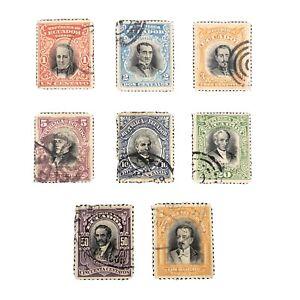 ECUADOR, SCOTT # 166-173(8), COMPLETE SET 1907 HISTORICAL FIGURES ISSUE USED