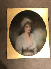 More details for 19th century school portrait of a lady quarter profile in headdress rare pastel
