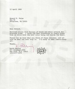 Keith Haring letter and signature 1985