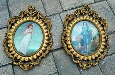 Pinkie & Blue Boy framed Oval convex Bubble Glass Set Italy vintage Victorian