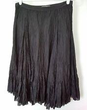 Joie Womens Black 100% Silk Unfinished Hem Lined Elastic Waist Skirt Size 4
