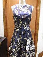Oscar de la Renta Blue Floral Silk Sleeveless Dress Size 4
