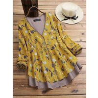 Womens Floral O Neck Short Sleeve New Top Casual V Neck T-Shirt Fashion Solid