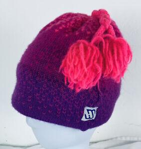 Vintage MURRAY MERKLEY Virgin Wool Beanie Ombré Pink Purple Braid Tassel OSFM