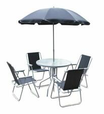 6 PIECE METAL TABLE,CHAIRS & PARASOL BISTRO GARDEN SET  (UK MAINLAND ONLY)