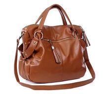 Fashion Lady Hobo Shoulder Bag Messenger Satchel Tote Tassel large Handbag Brown