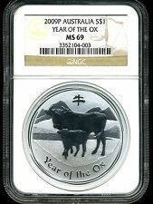 Australia 2009P $1 1 oz .999 Silver Year Of The Ox MS69 NGC