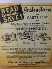John Deere 1940 A AN ANH AW AWH 477,000  Tractor Owner, Service & Parts Manual