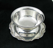 Gorham Strasbourg Silver Plate Sauce Boat w/ Plate Attached Mayonnaise Bowl Vtg