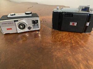 Vintage Kodak 2 Camera Lot-Both caneras have broken pieces