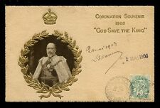 Royalty KING EDWARD VII Coronation Souvenir Postcad Tuck #3001 1902 Embossed PPC
