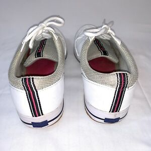 Vintage Rare Keds Woman's White Blue Red Leather Sneakers Tennis Shoes Size 8