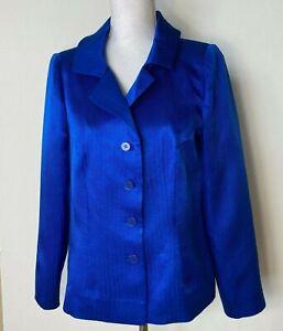 Vintage Peggy Jennings Blazer Jacket Silk Bright Blue Woven Pattern 36/37 Bust