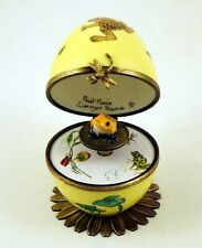 PLAYS MUSIC FRENCH LIMOGES BOX BROWN FROG DRAGONFLY EGG FROG KEY SWAN LAKE MUSIC