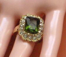 SIZE 9.5 PERIDOT, WHITE TOPAZ 14KT GOLD FILLED STATEMENT RING.LOVELY COLOR OLIVE