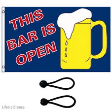 This Bar Is Open Flag 5x3 Ft Flag Poles Or Windsocks Poles.With Free Ball Ties