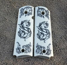 """1911/Clones For Kimber/Colt Scrimshawed Fancy Initial """"S"""" Scroll Work Grips!"""