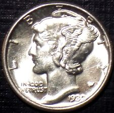 RARE LUSTEROUS 1930-P SILVER MERCURY DIME BU/MS HIGH GRADE WITH BANDS LQQK NOW!!