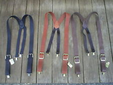 "Handmade USA Black/Brown/Tan LEATHER Clip on Suspenders Braces Men 1.5""Inch Wide"