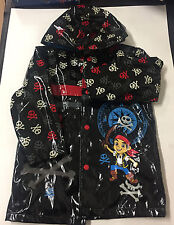 Disney, Jake & Neverland Pirates Boy's Black Raincoat with Hood, Size 4 skulls