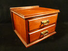 BEAUTIFUL WALNUT OR MAHOGANY TWO DRAWER BOX  WITH  BRASS HANDLES   CIRCA 1900