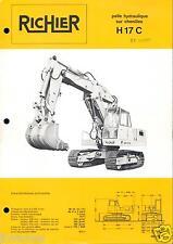 ▬►Prospectus de 1972 RICHIER  PELLE HYDRAULIQUE CHENILLES  H 17 C NO POCLAIN