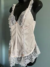 Vintage Silky Nylon Babydoll Frilly Lace Sheer Nightie Nightgown Lingerie Size M