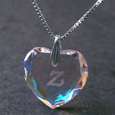 Kette 925 Silber Niklarson® Herz 18mm Swarovski Kristall Blue AB Gravur A-Z VE23