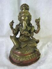 Ganesh Hindu Elephant God Figure on Lotus Brass and Copper