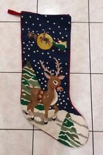 Extra Large Completed Cross Stitch Stocking with Reindeer Measures 30 + inches