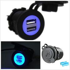 12-24V Dual USB Car SUV Blue LED Angel Eye Pupil Charger Adapter Kit Waterproof