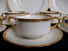 HAVILAND LIMOGES- BOUILLON CUP & SAUCER- ENCRUSTED DIAMOND GOLD BAND- EXCELLENT!