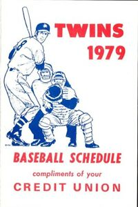 1979 MINNESOTA TWINS MAJOR LEAGUE BASEBALL SEASON POCKET SCHEDULE - CREDIT UNION