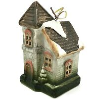 Victorian House Painted Lady Christmas Ornament Ceramic Gray Coral Brown Hangs
