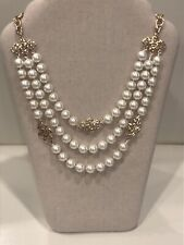 Charter Club Gold-tone Kiska Pearl Three Strand Necklace Jn05